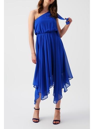Random Kadın Eteği Asimetrik Tek Omuzlu Mavi Elbise Mavi